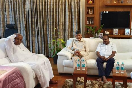 Chandrababu Naidu Meets Deve Gowda Amid Efforts to Mobilise Oppn Over EVMs